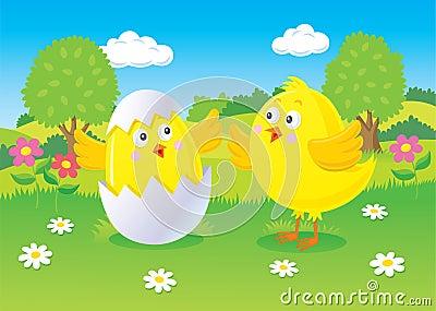 Easter Chicks Scene