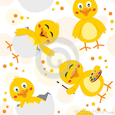 Easter Chicks Seamless Pattern