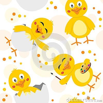 Easter Chicks Seamless Pattern