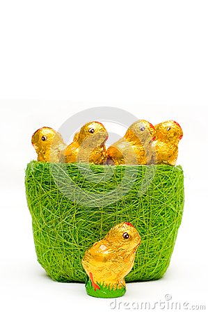 Easter chocolate chickens in grass-tidy