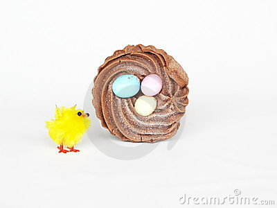 Chocolate Frosted Cupcake and Little Toy Chick