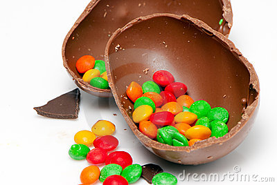 Easter chocolate egg and sweets