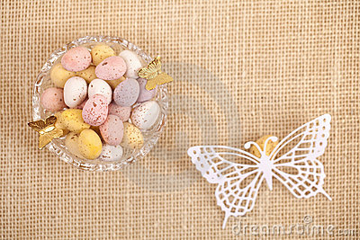 Easter chocolate speckled eggs in bowl