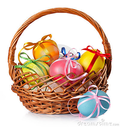 Free Easter Colored Eggs In The Basket Royalty Free Stock Image - 18705426