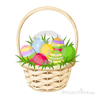 Free Easter Colorful Eggs In Basket. Vector Illustration. Stock Photography - 51617042
