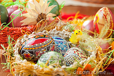 Easter colorful eggs in traditional basket