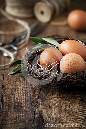 Free Easter Concept With Eggs In A Nest Royalty Free Stock Image - 103381076