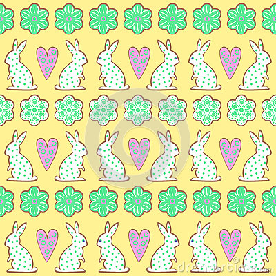 Free Easter Cookies Pattern, Card - Easter Bunny, Flowers, Hearts On Yellow Background. Stock Photography - 66538342