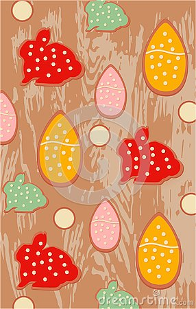 Easter cookies, vector illustration bunny egg cake Vector Illustration