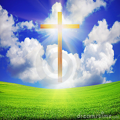 Free Easter Cross Over Green Field And Blue Sky Stock Image - 23943971