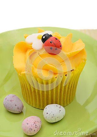 Easter cupcake and eggs