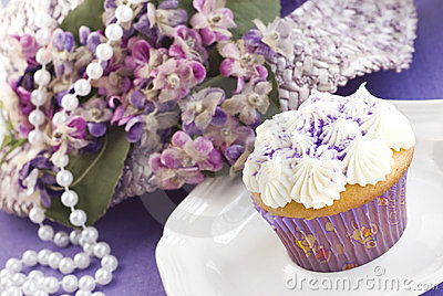 Easter Cupcake with Purple Decorations
