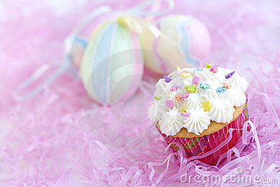 Easter Cupcake with sprinkles and Easter Eggs