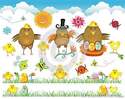 Easter cute set of design elements