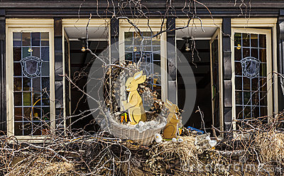 Easter Decorated Window in Colmar Editorial Stock Photo