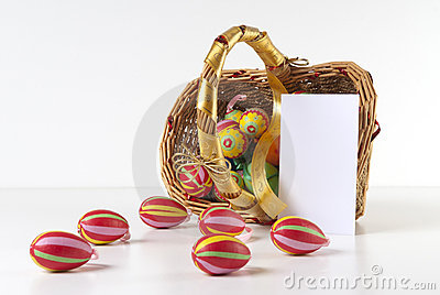Easter Decoration with blank greeting card