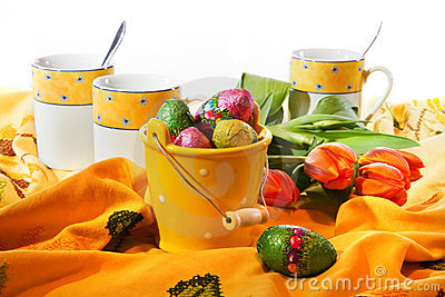 Easter decoration - bucket with chocolate eggs