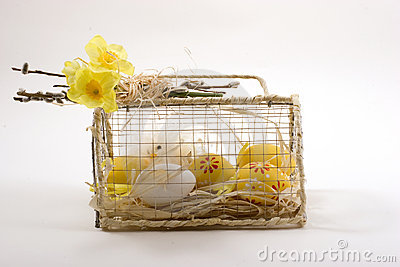 Easter decoration chickens in a cage