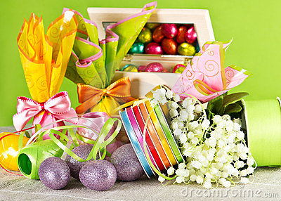 Easter decoration. eggs and flowers