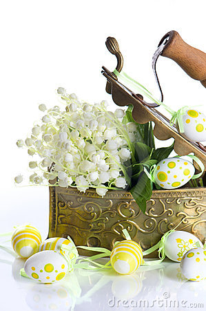 Easter decoration with eggs and lily flowers