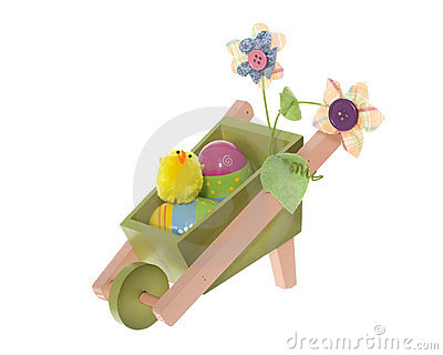Easter Decoration Wheel barrow with Eggs and Chick