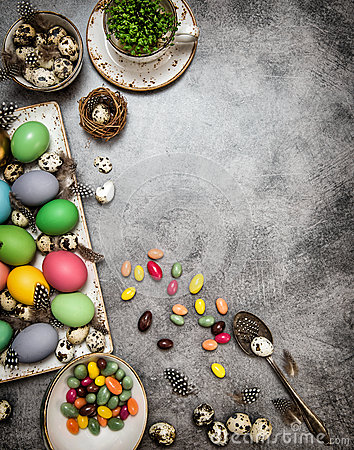 Free Easter Decoration With Eggs And Sweets. Dark Toned Royalty Free Stock Photography - 68459887
