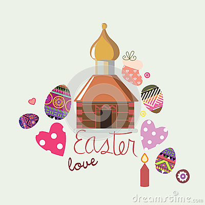 Easter design card with  illustrative elements