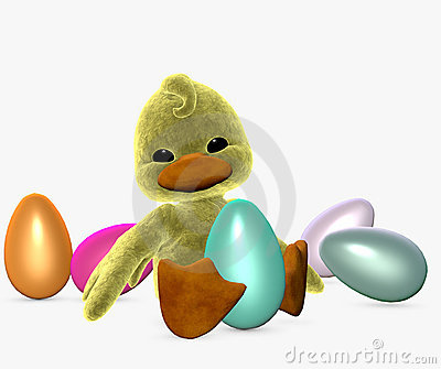Easter duckling with eggs