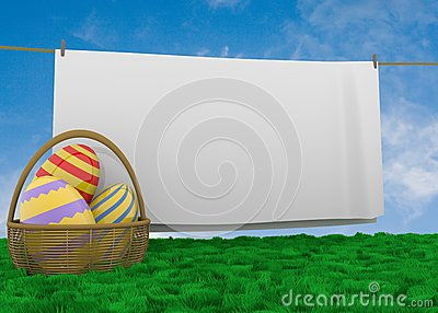 Easter egg basket with clothline