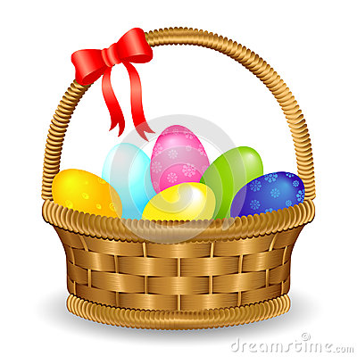 Free Easter Egg Basket With Bow Royalty Free Stock Image - 39913766