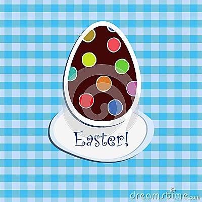 Easter egg on blue  checkered backgr