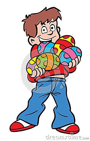 Cartoon Boy On An Easter Egg Hunt. Stock Vector - Image: 49999990