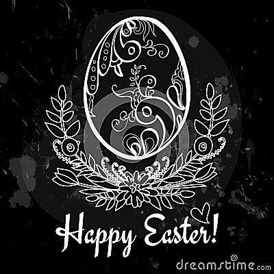 Easter egg on the chalkboard