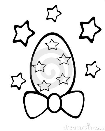 isolated Easter egg colorable with stars