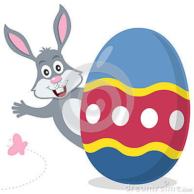 Easter Egg with Cute Bunny