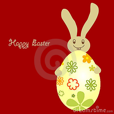Easter egg with cute smile bunny