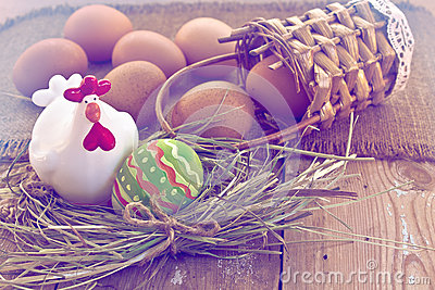 Easter egg and decorative chicken