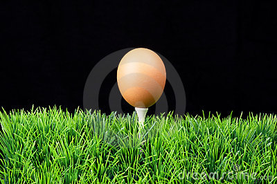 Easter egg on golf tee
