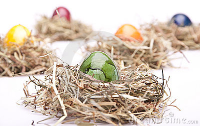 Easter egg green nest white