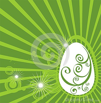 Easter egg with green pattern
