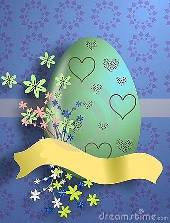 Easter egg with heart decoration and flowers