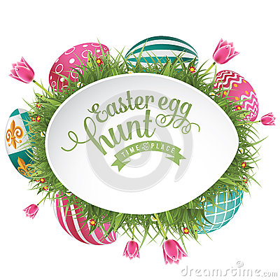 Free Easter Egg Hunt Ad Background Royalty Free Stock Images - 49996109