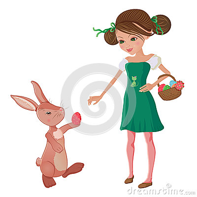 Easter egg hunt. Girl and bunny friends
