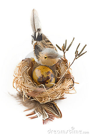 Easter egg in nest with bird