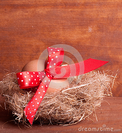 Easter egg in the nest with a red ribbon