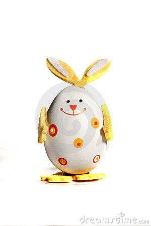 Easter egg painted like bunny