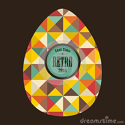 Easter egg in retro style. Vector Illustration