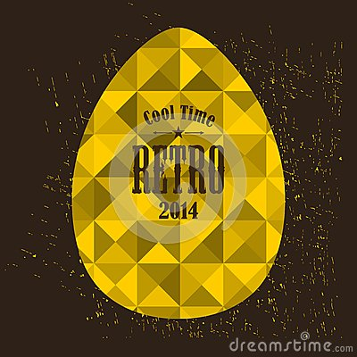 Easter egg in retro style. Vector Illustration
