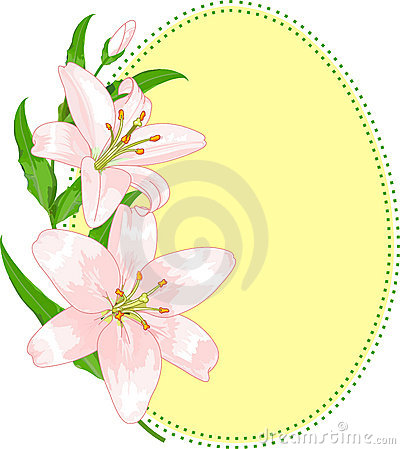 Easter egg shape with lilies