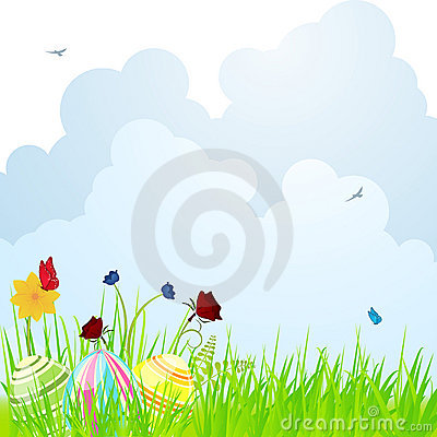 Easter egg and spring flower background